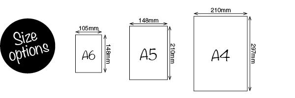 A6, A5, A4 Sizes