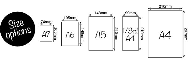 A7, A6, A5, 1/3 A4, A4 Sizes