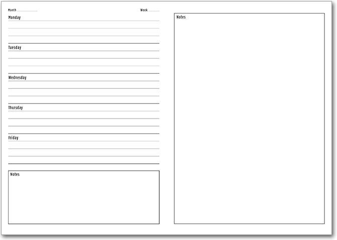 NEW! Template 9 with Days of the Week and Rules and Notes