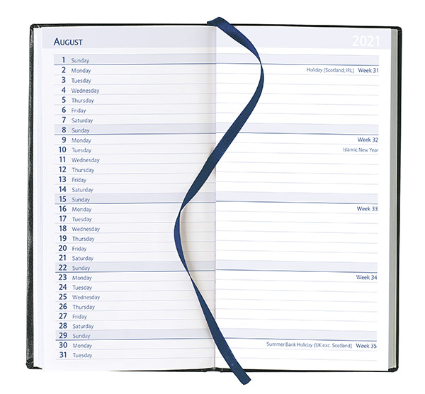 Pocket Month to View Diary - White Pages, 2021
