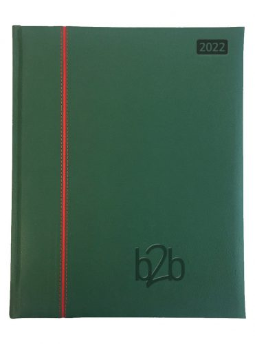 Allegro Management Desk Diary - Week to View Diary - Cream Pages - Green-Red, 2022