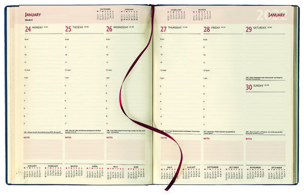 Management Desk Diary - Week to View Diary - Cream Inside Pages, 2022