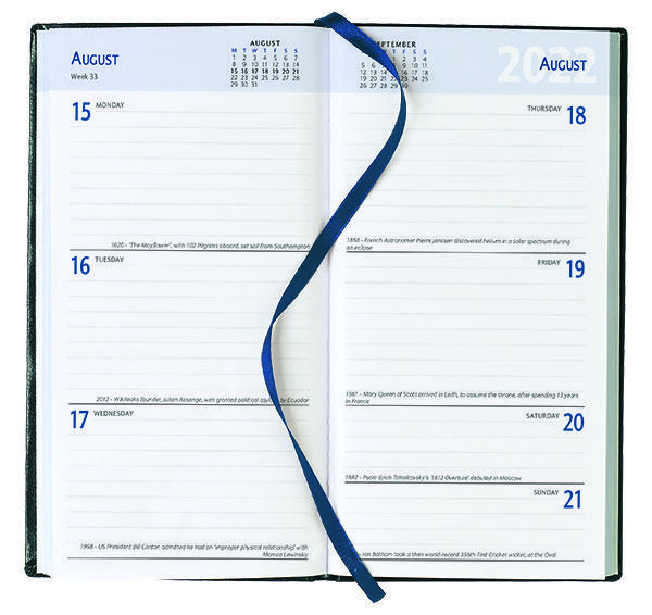 Pocket Diary - Week to View Diary - White Inside Pages, 2022
