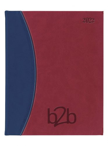 Sorrento Management Desk Diary - Week to View Diary - Cream Pages - Red-Blue, 2022